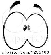 Clipart Of A Pair Of Scared Black And White Eyes Royalty Free Vector Illustration