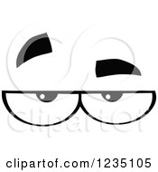 Clipart Of A Pair Of Bored Black And White Eyes Royalty Free Vector Illustration