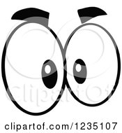 Clipart Of A Pair Of Mad Black And White Eyes Royalty Free Vector Illustration