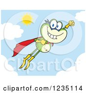 Super Hero Frog Character Flying In The Sky