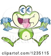 Rich Frog Character Jumping With Euro Cash Money And Symbol Eyes