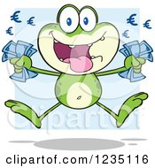 Happy Frog Character Jumping With Euro Cash Money