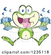 Clipart Of A Rich Frog Character Jumping With Euro Cash Money Royalty Free Vector Illustration by Hit Toon