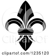 Clipart Of A Black And White Lily Fleur De Lis 3 Royalty Free Vector Illustration
