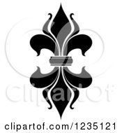 Clipart Of A Black And White Lily Fleur De Lis Royalty Free Vector Illustration
