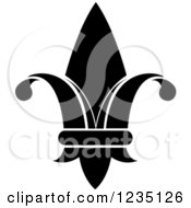 Clipart Of A Black And White Lily Fleur De Lis 5 Royalty Free Vector Illustration