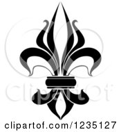 Clipart Of A Black And White Lily Fleur De Lis 8 Royalty Free Vector Illustration