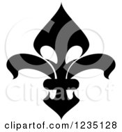 Clipart Of A Black And White Lily Fleur De Lis 11 Royalty Free Vector Illustration