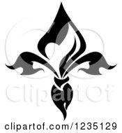 Clipart Of A Black And White Lily Fleur De Lis 12 Royalty Free Vector Illustration