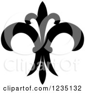 Clipart Of A Black And White Lily Fleur De Lis 21 Royalty Free Vector Illustration