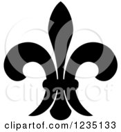 Clipart Of A Black And White Lily Fleur De Lis 22 Royalty Free Vector Illustration
