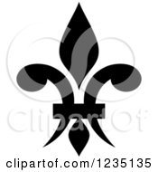 Clipart Of A Black And White Lily Fleur De Lis 13 Royalty Free Vector Illustration