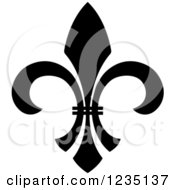 Clipart Of A Black And White Lily Fleur De Lis 17 Royalty Free Vector Illustration