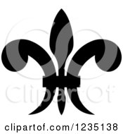 Clipart Of A Black And White Lily Fleur De Lis 19 Royalty Free Vector Illustration