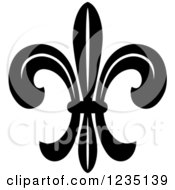 Clipart Of A Black And White Lily Fleur De Lis 16 Royalty Free Vector Illustration