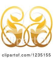 Clipart Of A Gradient Golden Floral Design Element 4 Royalty Free Vector Illustration