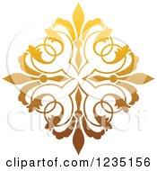 Clipart Of A Gradient Golden Floral Design Element 3 Royalty Free Vector Illustration