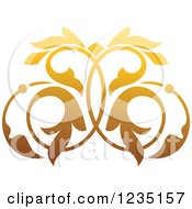 Clipart Of A Gradient Golden Floral Design Element 2 Royalty Free Vector Illustration