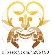 Clipart Of A Gradient Golden Floral Heart Design Element Royalty Free Vector Illustration