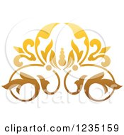 Clipart Of A Gradient Golden Floral Design Element Royalty Free Vector Illustration