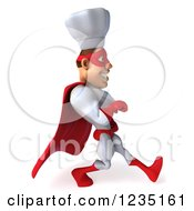 Clipart Of A 3d Male Super Chef Walking 3 Royalty Free Illustration