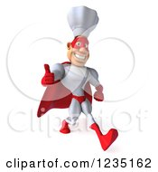 Clipart Of A 3d Male Super Chef Walking And Holding A Thumb Up Royalty Free Illustration