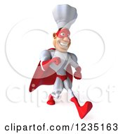 Clipart Of A 3d Male Super Chef Walking Royalty Free Illustration