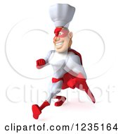 Clipart Of A 3d Male Super Chef Walking 2 Royalty Free Illustration