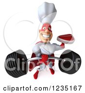 Clipart Of A 3d Male Super Chef Lifting A Heavy Barbell And Holding A Steak Royalty Free Illustration