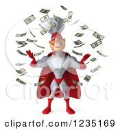 Clipart Of Cash Money Raining Down On A 3d Male Super Chef Royalty Free Illustration