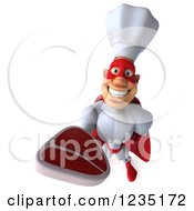 Clipart Of A 3d Male Super Chef Holding Up A Steak Royalty Free Illustration