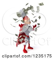 Clipart Of Cash Money Raining Down On A 3d Male Super Chef 2 Royalty Free Illustration