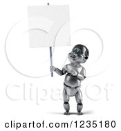 Clipart Of A 3d Metal Baby Robot Pointing To And Holding A Sign Royalty Free Illustration