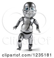 Clipart Of A 3d Metal Baby Robot Taking Its First Steps Royalty Free Illustration by Julos