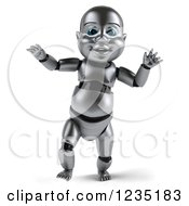 Clipart Of A 3d Metal Baby Robot Taking Its First Steps 3 Royalty Free Illustration by Julos