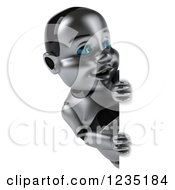Clipart Of A 3d Metal Baby Robot Smiling Around A Sign Royalty Free Illustration by Julos