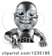 Clipart Of A 3d Metal Baby Robot Pointing Down To A Sign Royalty Free Illustration by Julos
