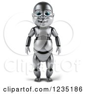 Clipart Of A 3d Metal Baby Robot Royalty Free Illustration