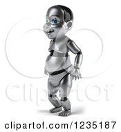 Clipart Of A 3d Metal Baby Robot Facing Left Royalty Free Illustration by Julos
