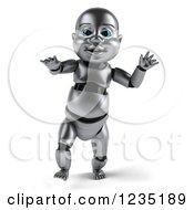 Clipart Of A 3d Metal Baby Robot Taking Its First Steps 4 Royalty Free Illustration by Julos