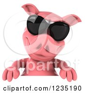 Clipart Of A 3d Pink Pig In Sunglasses Over A Sign Royalty Free Illustration