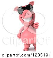 Clipart Of A 3d Pink Pig In Sunglasses Looking Around A Sign Royalty Free Illustration