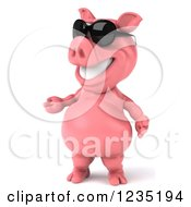 Clipart Of A 3d Presenting Pink Pig In Sunglasses Royalty Free Illustration