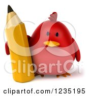 3d Chubby Red Bird With A Giant Pencil
