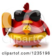 3d Chubby Red Bird With A Popsicle And Inner Tube