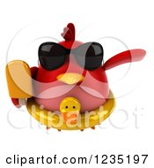 3d Chubby Red Bird Flying With A Popsicle And Inner Tube