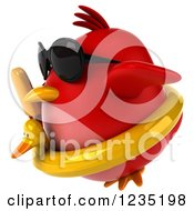 3d Chubby Red Bird Flying With A Popsicle And Inner Tube 2