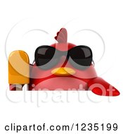 Clipart Of A 3d Chubby Red Bird With Sunglasses And A Popsicle Over A Sign Royalty Free Illustration
