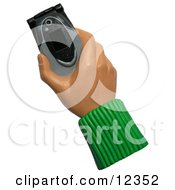 Poster, Art Print Of 3d Hand Holding A Black And Gray Cell Phone