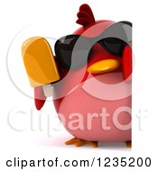 Clipart Of A 3d Chubby Red Bird With Sunglasses And A Popsicle Around A Sign Royalty Free Illustration